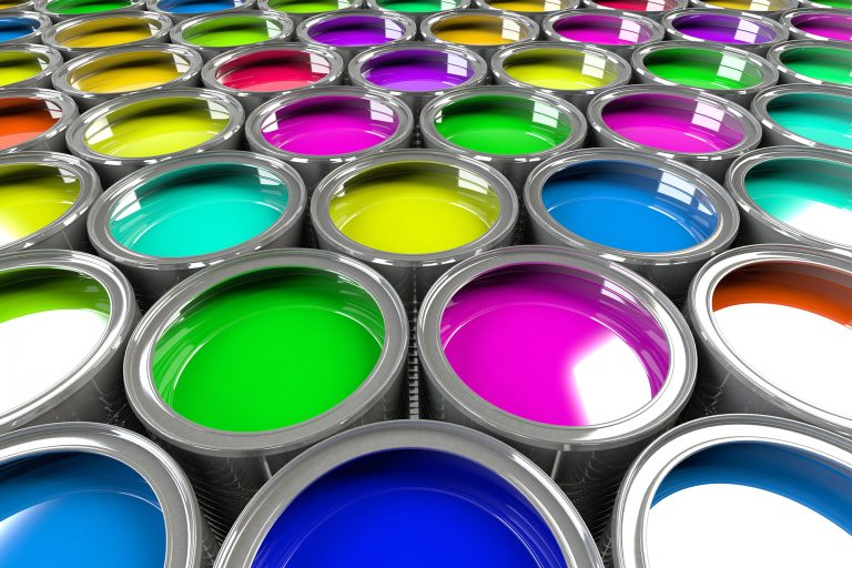 Multiple open paint cans. Rainbow colors. Creativity and diversity concept.